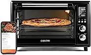 COSORI 12 合 1 智能空氣炸鍋烤箱組合,應用程序和 Alexa 控制,對流烤肉店和雞肉、披薩和餅干脫水器,包括 100 個食譜和 6 個配件,30 升,黑色