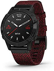 Garmin 佳明 Fenix 高級多運動 GPS 手表010-02158-16 6 Sapphire Black with Red Nylon Band