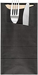 Garcia de Pou 250件餐具袋,带餐巾 2 层,牛皮,黑色,11.2 x 22.5 x 30厘米 黑色 11.2 x 22.5 x 30 cm 169.41