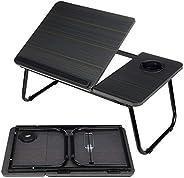 笔记本电脑桌,可调节耐用木制折叠桌,带杯架,笔记本电脑支架,适用于床/户外/办公室/沙发(55.5 x 32.5 x 24.0 厘米