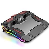 游戏笔记本电脑散热器冷却支架垫,静音风扇冷却面板冷却支架双通道高速涡轮 RGB 环境照明适用于主流 15-17 英寸笔记本电脑