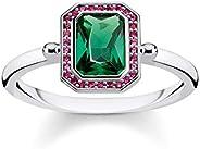 THOMAS SABO 女士戒指 宝石 红色 & * 银 925 纯银 镀黑 TR2264-3