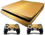 Adventure Games - PS4 SLIM - 金色、拉丝铝 - Playstation 4 乙烯基控制台皮肤贴花贴纸 + 2 个控制器皮肤套装