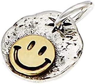 925 纯银男士吊坠圆形硬币新奇嘻哈闪电微笑吊坠