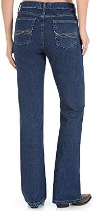 Wrangler 女式 As Real as Wrangler 经典修身喇叭牛仔裤 Casted Blue Indigo 4 x 32L