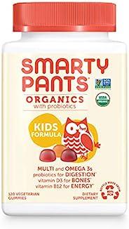 SmartyPants 儿童每日多种维生素软糖:益生元,维生素C,D3和锌可提供抵抗能力,生物素,Omega 3,B6,甲基B12,提供能量(120粒,30天供应),包装可能会有所不同