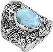 YoTreasure Larimar 纯色 925 纯银宝石经典戒指