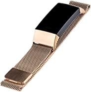 WITHit Designer 不锈钢网眼替换表带,适用于 Fitbit Charge 3 & Charge 4,玫瑰金 – *,可调节,Fitbit Watch 表带替换带磁扣,适合大