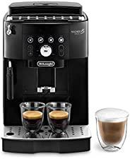 De'Longhi 德龙 Magnifica S Smart ECAM 230.13.B 全自动咖啡机 带有卡布奇诺奶泡器,带照明的一键式制备按钮 适用于Espresso/普通咖啡/Long Coffee,双杯功能,黑色