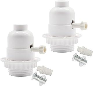 3 路灯插座,中号螺丝 E26 灯螺纹外壳带环,用于低中高光设置,白色螺纹插座,适用于 DIY 项目,UL 认证 (2)