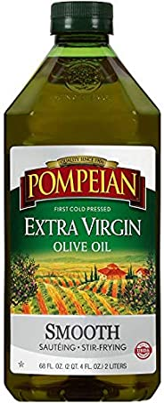 Pompeian Extra 柔滑初榨橄榄油,首次冷压,味道温和细腻,非常适合炒菜,无麸质,68 液量盎司(2L),单瓶