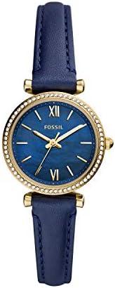 FOSSIL 女式模拟石英手表皮革表带 ES5017