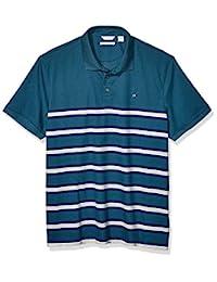 Calvin Klein Men's Liquid Touch 男士马球条纹Polo衫,带紫外线防护