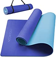 COOLMOON 防滑 TPE 瑜伽垫,带易收紧背带,经典厚 1/4 英寸运动和健身垫,适合家庭或健身房使用