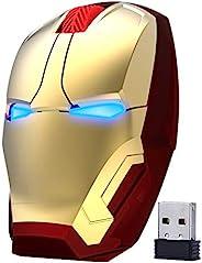 ECOiNVA 无线钢铁侠鼠标 2.4G 光学电脑鼠标 适用于台式电脑 PC Mac(金色)
