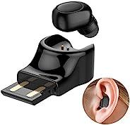 单耳塞式*小蓝牙耳塞隐形蓝牙耳机,适用于手机迷你无线耳塞,带麦克风,6 小时播放时间免提蓝牙耳机,单声道耳机磁性充电底座
