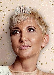 Alandra Birthday TIARA-40 40 岁生日玫瑰金属礼盒皇冠,奶油和玫瑰金银,均码