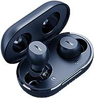 Mpow M12 无线蓝牙耳塞,无线充电和USB-C充电盒蓝牙耳机无线耳机带麦克风,低音声音/IPX8 防水/触摸控制/25 小时/双模式,蓝色