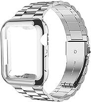 iiteeology 兼容 Apple Watch 表带 44 毫米 带屏幕保护壳,[*] 不锈钢链接替换表带适用于 iWatch 系列 5 4 银色/银色