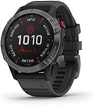 Garmin 佳明 fēnix 6 Pro 太陽能,太陽能多運動 GPS 手表,高級訓練功能和數據,石板灰,黑色表帶