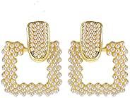 矩形方形几何耳环波西米亚人造珍珠宣言金色金属吊坠耳钉女式