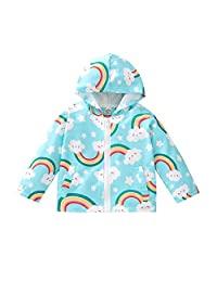 幼儿婴儿男孩女孩连帽衫可爱彩虹印花拉链口袋夹克外套秋冬上衣 1-5T