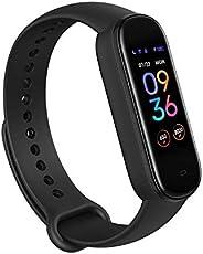 Amazfit Band 5 健身追踪器内置 Alexa 15 天电池寿命,血氧,心率,*监测,女性*追踪,始终显示,音乐控制,防水,黑色