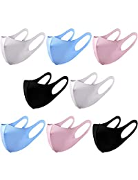 8 件可重复使用防尘面罩棉质面部保护中性款透气口罩户外运动