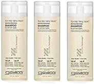 GIOVANNI 茶树油三重清爽洗发水,8.5盎司,250毫升,冷却薄荷,调理迷迭香,桉树,帮助缓解干鳞片状的头部,不含硫酸盐,不含对羟基苯甲酸酯(3瓶)