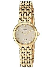 """Seiko 女士""""女士礼服""""石英不锈钢休闲手表,颜色:金色调(型号:SUP352)"""