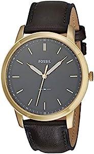 Fossil 男式 极简主义不锈钢修身休闲石英手表