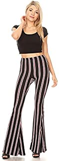 SWEETKIE 波西米亚喇叭裤,弹性腰围,女式阔腿裤,纯色和印花,弹性柔软 Black Burgundy X-Large