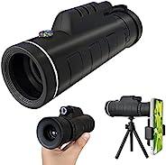 40x60 大功率单目望远镜,配备智能手机支架,bak4 棱镜和生命防水望远镜,适合成人、儿童、观鸟、徒步、狩猎和露营