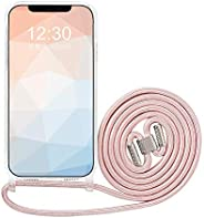Omorro 适用于 iPhone 12 Pro Max 透明手机壳,可调节斜挎挂绳带颈带,女孩女士透明超薄灵活软 TPU 凝胶框架 PC 背部防震保护套粉色