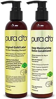Pura D'or 生物素原始金标签防止稀疏洗发水和护发素套装,经过测试的有效解决方案,含草本成分,适合所有发质,男女(包装可能有所不同),(2 x 8盎司/236.