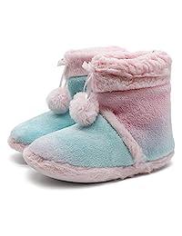 女孩儿童独角兽短靴拖鞋袜可爱冬季柔软温暖毛绒舒适防滑卧室屋靴拖鞋