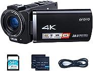 Livestream 攝像機4K ORDRO HDR-AX60 攝像機12倍光學變焦鏡頭 3.5英寸 IPS LCD 視頻錄像機直播攝像機,帶 64GB SD 卡和 USB 直播適配器電纜