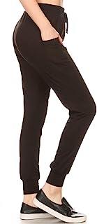 ShoSho 女式纯色基本款黑色慢跑运动裤超软休闲运动裤加大常规尺码