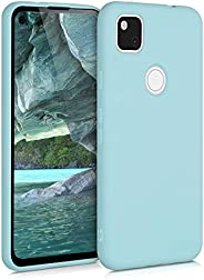 kwmobile 手机壳兼容 Google 谷歌 Pixel 4a - 软橡胶 TPU 超薄手机保护套 - 薄荷绿