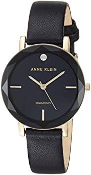 Anne Klein 女士镶钻皮革表带手表