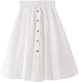 女式 A 字型高腰纽扣前抽绳百褶中长款裙,带弹性腰围及膝长度