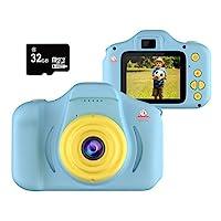 Kiditos 兒童數碼相機 - 高清迷你相機玩具錄像機 適用于 3-11 歲兒童 - 防震 -1080P 幼兒視頻錄像機和攝影 - 男孩和女孩的禮物 - 附贈 32GB SD 卡 藍色