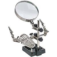 Sealey SD150H 迷你机器人焊架,带放大镜和铁架,银色
