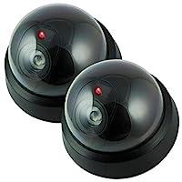 假相机、假*摄像头户外、虚拟圆顶*摄像机,无线监控系统逼真外观,带闪烁红 LED 灯,适合家庭或商务(2 件装)
