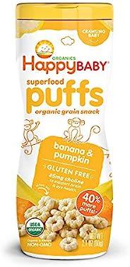 Happy Baby Organic Superfood 泡芙 香蕉&南瓜,2.1盎司(60g)(6瓶装)包装可能