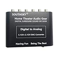SOUTHSKY 5.1 Audio Rush 数字声音解码器转换器 - 光学 SPDIF / 同轴至 5.1 声道模拟音频(6RCA 输出)