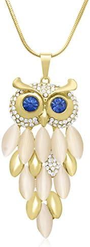 Sparkle Bargains 复古猫头鹰吊坠和带大蓝色*的链