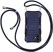 E-Tree 斜挎挂绳手机壳,适用于 iPhone 12 Mini 5.4 英寸(2020) 带支架,防震双层,防丢可拆卸项链带,适合户外儿童老人等(深蓝色)