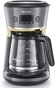 Breville 铂富 Mostra 易测量咖啡机 12杯可编程咖啡机 1.8升水罐 内置滤水器 新鲜度指示器 灰色和金色 VCF114