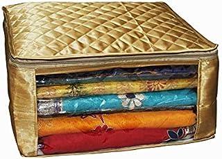 设计师纱丽封面大号金色缎面材质,*多可容纳 15 件纱丽/婚礼礼品(金色)